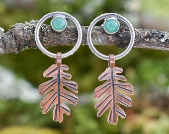 Bark Loop with Oak Leaf Earrings | Chrysoprase, Sterling Silver, and Copper
