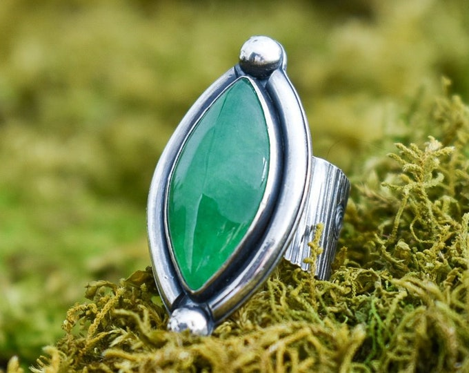 Aventurine Wide Band Bark Ring | Aventurine and Sterling Silver | Size 7