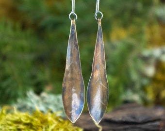Dangly Brass Leaf Earrings