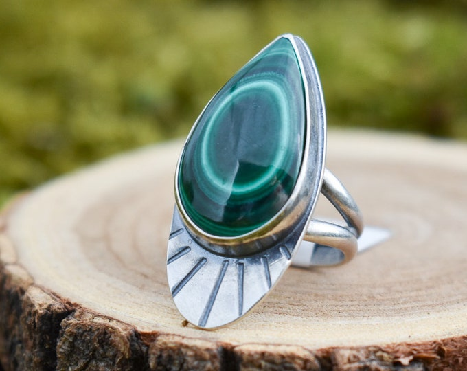 Malachite Forest Deco Ring | Sterling Silver | Size 7.25