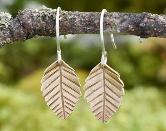 Alder Leaf Earrings | Brass and Sterling Silver