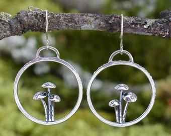 Toadstool Trio Hoop Earrings   Sterling Silver
