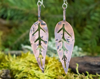 Skeleton Leaf Earrings | Copper and Sterling Silver