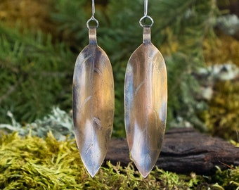 Dangly Wide Leaf Earrings | Brass and Sterling Silver