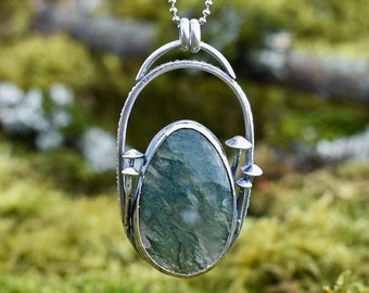 Forest Floor Fungi Pendant | Moss Agate and Sterling Silver