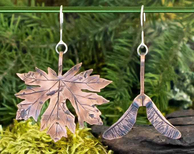 Big Leaf Maple Earrings | Copper and Sterling Silver