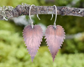 Nettle Leaf Earrings | Copper and Sterling Silver