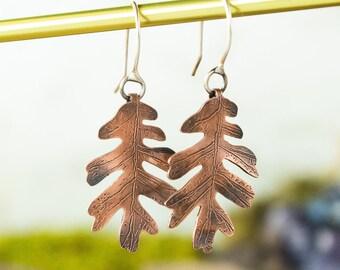 Oak Leaf Earrings | Copper and Sterling Silver