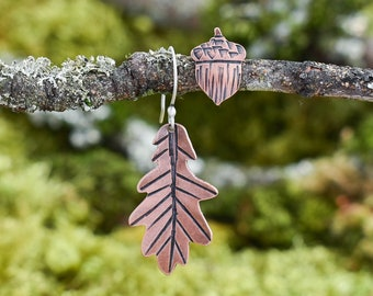 Asymmetrical Acorn and Oak Leaf Earrings | Copper and Sterling Silver