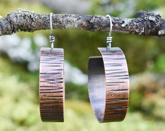 Bark Hoop Earrings | Copper and Sterling Silver