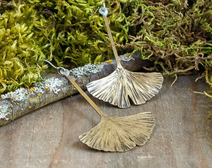 Gingko Leaf Drop Earrings | Brass and Sterling Silver