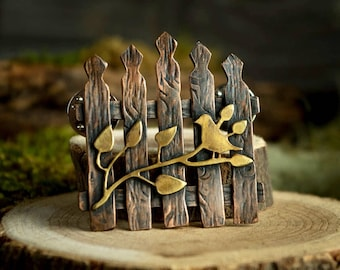 Secret Garden Gate Pin, Copper and Brass