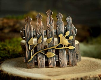 Secret Garden Gate Pin, Copper and Brass