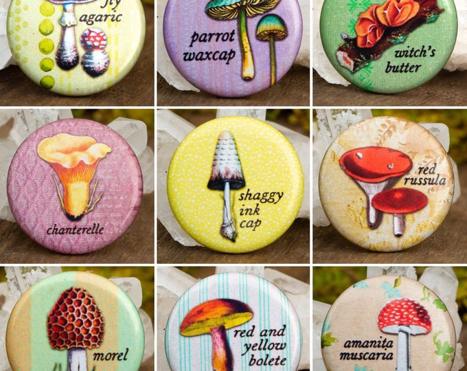 """Vintage Illustrated Fungi Buttons   1 1/4"""" Round"""