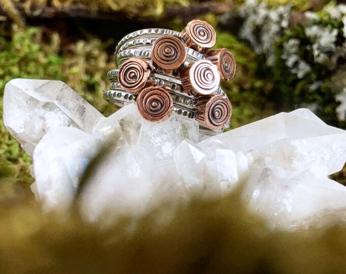 Log Slice Stacking Ring   Made to Order   Sterling Silver + Copper