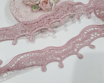 1 Yard- Embroidered  Loopy Lace Trim/NT143- Lace Trim/Mauve Lace Trim/