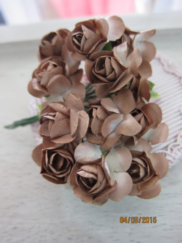 1bun 12pcs 2 Tone Color Paper Flowernf37 Brown Mini Etsy