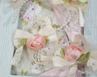 Set of 4pieces-Shabby Chic Satin Ribbon Rose bow/NEB102-Pink Rose Bow Embellishment/Head Piece/