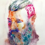 "Aaron Smith, ""Cubby II"", 2017, original ink on paper monoprint,  22.5"" x 15""- Bearded Gent"