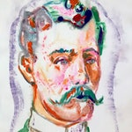 """Aaron Smith, """"Waxer"""", 2018, original ink on paper monoprint,  22.5"""" x 15""""- Mustache Gent"""