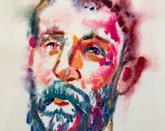 "Aaron Smith, ""Lifter"", 2018, original ink on paper monoprint,  22.5"" x 15""- Bearded Gent"