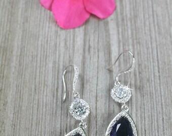 Sapphire Cubic Zirconia teardrop earrings Bridal wedding jewelry graduation party bride fancy Sparkling pear shape pendant