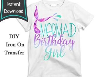 5b570d9e5f84 Mermaid Iron On Transfer, Mermaid Shirt, birthday girl, mermaid birthday  shirt, Mermaid, mermaid birthday, printable, T-shirt -no changes