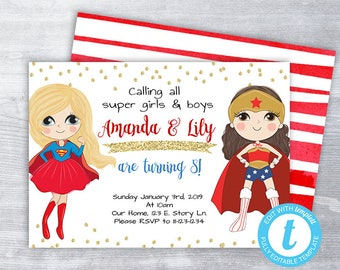 Supergirl Wonder Woman Invitation Super Hero Girls Invite Birthday Party Printable Instant Download