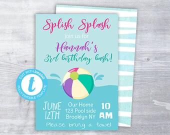 beach ball invitation beach ball birthday party invitation etsy