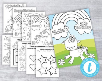 Unicorn Birthday Coloring Pages Party Activities Favor PRINTABLES