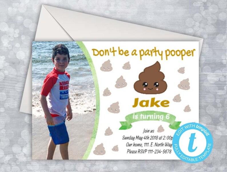 POOP EMOJI Birthday Party Invitations Poop Emoji