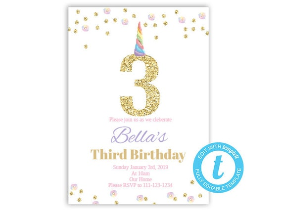 third birthday invitation unicorn birthday invite glitter