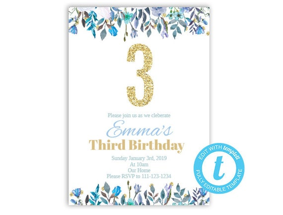 third birthday invitation floral birthday invite glitter etsy