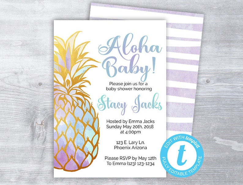 Aloha Baby shower invitation, Aloha baby, pineapple shower invitation, baby  shower invitation, printable shower invitation, instant download
