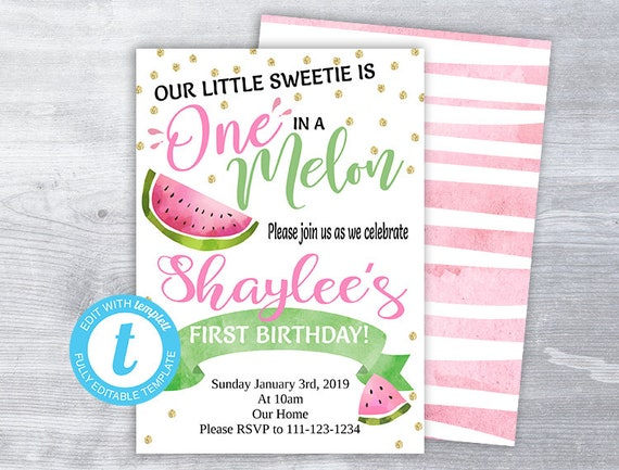 Watermelon Invitation Birthday
