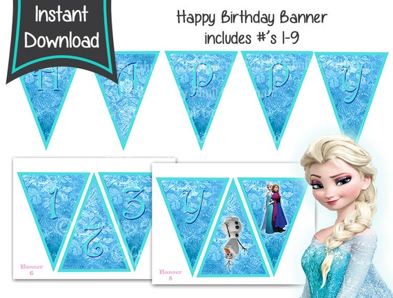 graphic regarding Frozen Banner Printable titled Disney Frozen Banner Fast Obtain - Frozen Banner Printable - Content Birthday Frozen Banner - Frozen Decorations Tips - Elsa and Anna