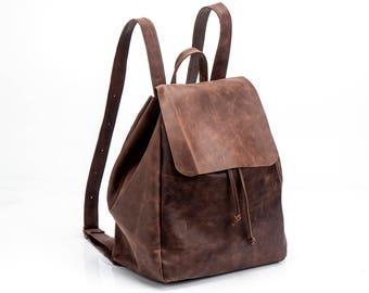 Brown Leather Backpack, Handmade Backpack, Travel Bag, School Bag, Brown Leather Bag, Handmade backpack, Sale!