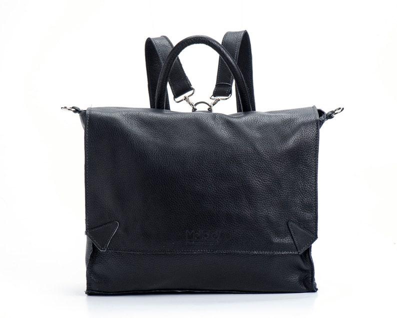 BLACK Leather Backpack, Satchel backpack,