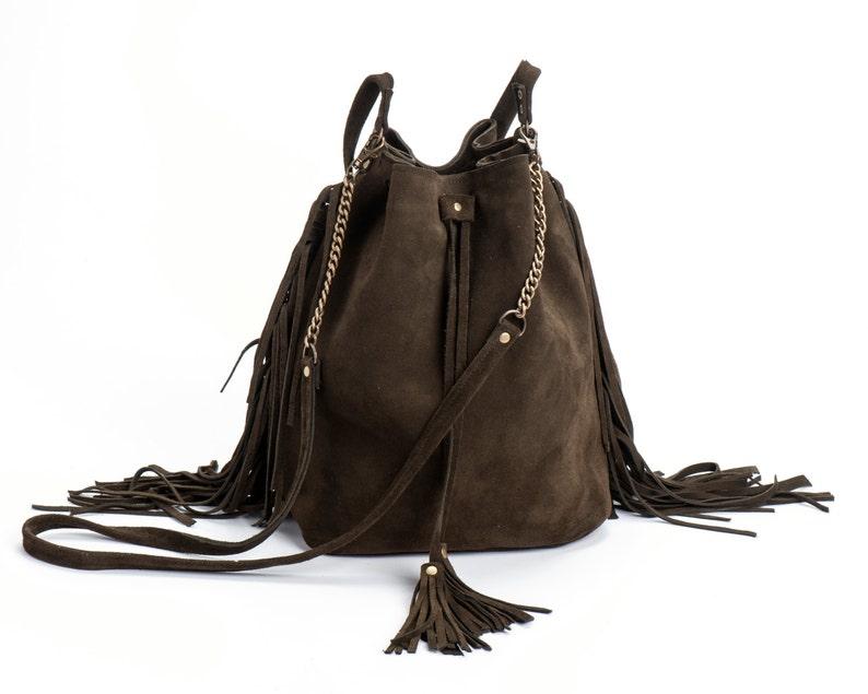 025b138ba1e8e Leather Bucket bag khaki bucket bag Olive green Sac bag