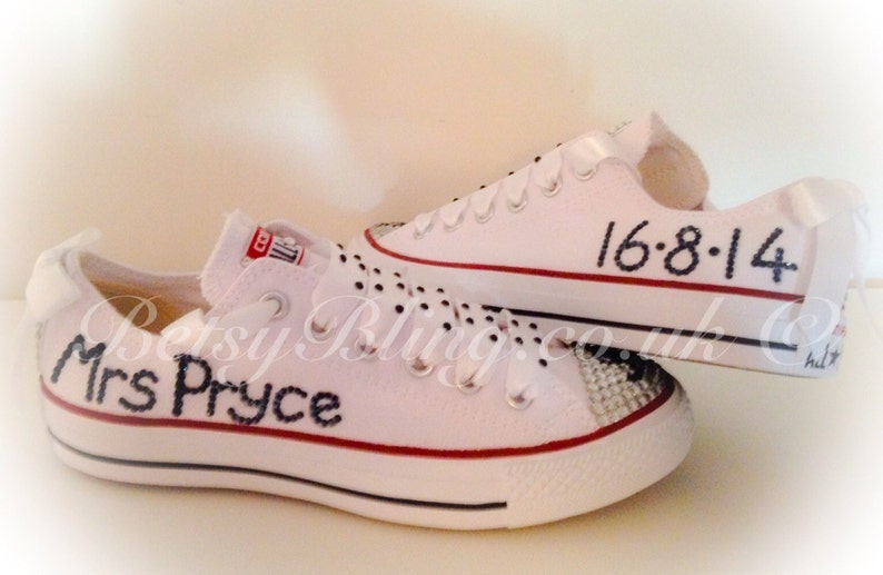 b46941a538b5 Personalised Crystal Wedding Converse with names   dates ANY
