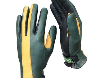 Brazimoto Rapido Green Gold Deerskin Scooter Motorcycle Gloves