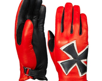 Brazimoto Red Baron Red Black  Deerskin Scooter Motorcycle Gloves