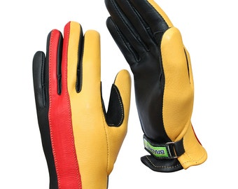 Brazimoto Farenheit Gold Red Black Deerskin Scooter Motorcycle Gloves
