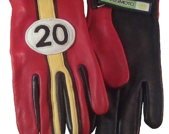 "Brazimoto ""20"" Red Black Gold Cream Deerskin Scooter Motorcycle Gloves"