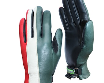 Brazimoto Forza Green Cream Red Deerskin Scooter Motorcycle Gloves