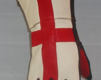 Brazimoto St. George Cross - England Cream Red Black Deerskin Scooter Motorcycle Gloves