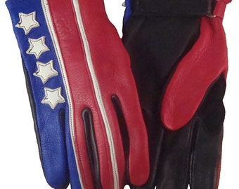 Brazimoto 4 Stars Red Cream Blue Deerskin Scooter Motorcycle Gloves