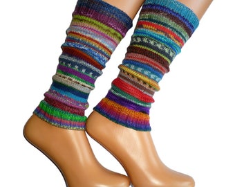 Knit Leg Warmers | Boot Cuffs | Boot Toppers | Hand Knit Leg Warmers | Rainbow Leg Warmers | Striped Gaiters