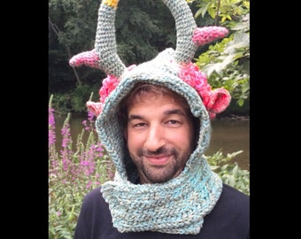 Spring Faun Hood / Witchy / pagan / solstice / Greek  / geek / winter wear / men / women / crochet / love