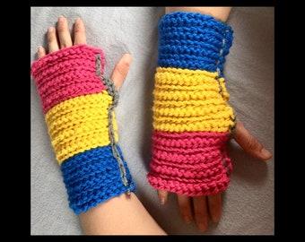 Pan Pride Fingerless Gloves / Pride / Pansexual Pride / LGBTQ / geek winter wear / women / men / love is love